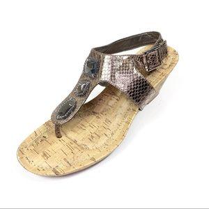 Dexflex Sandal Wedge Jeweled Faux Snakeskin
